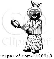 Retro Vintage Black And White African Woman Holding A Pan
