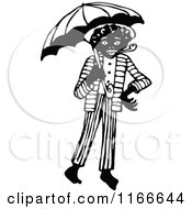 Clipart Of A Retro Vintage Black And White African Man With A Pipe And Umbrella Royalty Free Vector Illustration by Prawny Vintage