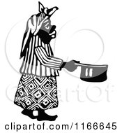 Retro Vintage Black And White African Woman Holding A Pot