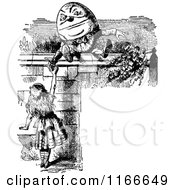 Clipart Of Retro Vintage Black And White Alice And Humpty Dumpty Frame Royalty Free Vector Illustration