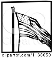 Retro Vintage Black And White American Flag Icon