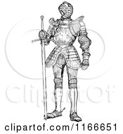 Clipart Of A Retro Vintage Black And White Suit Of Armour Royalty Free Vector Illustration by Prawny Vintage