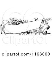 Clipart Of A Retro Vintage Black And White Floral Scroll Banner Royalty Free Vector Illustration