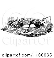 Clipart Of A Retro Vintage Black And White Bird Nest With Eggs Royalty Free Vector Illustration