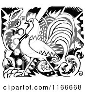 Clipart Of A Retro Vintage Black And White Rooster And Floral Design Royalty Free Vector Illustration by Prawny Vintage