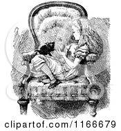 Clipart Of Retro Vintage Black And White Alice And Kitten In A Chair Royalty Free Vector Illustration