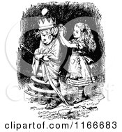 Clipart Of Retro Vintage Black And White Alice And Queen Royalty Free Vector Illustration