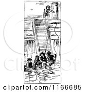 Clipart Of Retro Vintage Black And White Boat Boys And Ship Ladder Royalty Free Vector Illustration