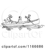 Clipart Of A Retro Vintage Black And White Father Dog And Children Boating Royalty Free Vector Illustration