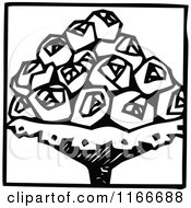 Clipart Of A Retro Vintage Black And White Rose Bouquet Royalty Free Vector Illustration
