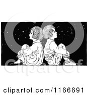 Clipart Of A Retro Vintage Black And White Boy And Girl Sitting Back To Back Under The Stars Royalty Free Vector Illustration
