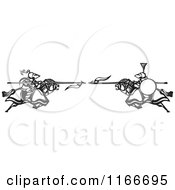 Clipart Of Knights Charging With Spears Black And White Woodcut Royalty Free Vector Illustration