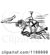 Clipart Of A Knight Charging With A Spear Black And White Woodcut Royalty Free Vector Illustration