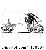 Clipart Of A Knight Battling A Dragon Black And White Woodcut Royalty Free Vector Illustration by xunantunich