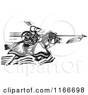 Clipart Of A Horseback Knight Charging With A Spear Black And White Woodcut Royalty Free Vector Illustration