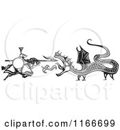 Clipart of a Knight Battling a Fire Breathing Dragon Black and White Woodcut - Royalty Free Vector Illustration by xunantunich #COLLC1166699-0119