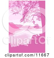 Lake Mountains And Trees In Pink Tones Clipart Illustration