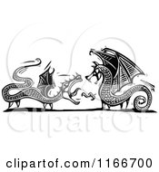 Clipart Of Two Dragons Black And White Woodcut Royalty Free Vector Illustration