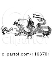 Clipart Of A Fire Breathing Dragon Black And White Woodcut Royalty Free Vector Illustration by xunantunich