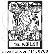 Clipart Of The World Tarot Card Black And White Woodcut Royalty Free Vector Illustration