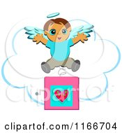 Cartoon Of A Jack In The Box Angel Boy Over A Cloud Royalty Free Vector Clipart by bpearth