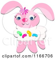 Cartoon Of A Pink Easter Bunny With Jelly Beans Royalty Free Vector Clipart