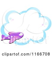 Cartoon Of A Purple Airplane And Cloud Frame Royalty Free Vector Clipart