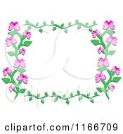 Cartoon Of A Floral Frame Of A Vine With Pink Flowers Royalty Free Vector Clipart by bpearth