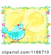 Blue Bird And Floral Frame Around Yellow