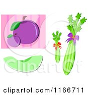 Cartoon Of Celery Plums And Honeydew Melon Royalty Free Vector Clipart by bpearth
