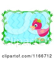 Pink Bird And Green Leaf Frame Around Blue Water