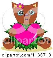 Valentine Cat Holding A Heart With Leaves