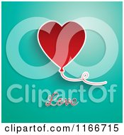 Red Valentines Day Heart Balloon With Love Text On Turquoise