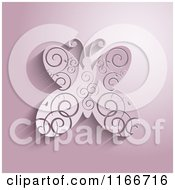 3d Pink Butterfly With Swirl Designs