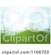 Clipart Of A Spring Background Of A Green Hill With Foliage Against A Sunny Sky Royalty Free Vector Illustration