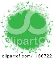 Clipart Of A Green Globe Of Spring Grass Plants And Butterflies Royalty Free Vector Illustration
