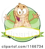 Peanut Character Over A Banner And Green Circle