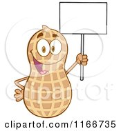 Cartoon of a Peanut Character Holding a Sign - Royalty Free Vector Clipart by Hit Toon