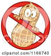 Cartoon Of A Peanut Character In A Restricted Symbol Royalty Free Vector Clipart by Hit Toon #COLLC1166740-0037