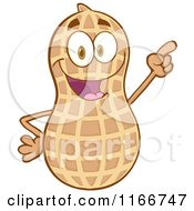Cartoon Of A Peanut Character Pointing Royalty Free Vector Clipart
