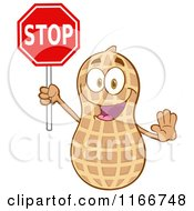 Cartoon Of A Peanut Character Holding A Stop Sign Royalty Free Vector Clipart