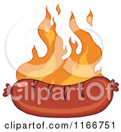 Cartoon Of A Grilled Sausage And Flames Royalty Free Vector Clipart