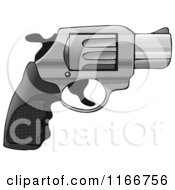 Cartoon Of A 38 Revolver Nub Hand Gun Royalty Free Clipart