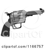 Cartoon Of A Revolver Hand Gun Royalty Free Clipart