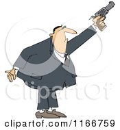Cartoon Of A Secret Agent Man Shooting His Firearm Royalty Free Vector Clipart
