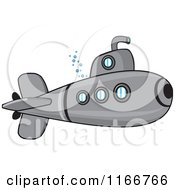 Cartoon Of A Metal Submarine Royalty Free Vector Clipart