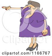 Cartoon Of An Angry Woman Screaming And Pointing With Her Tonge Waving Royalty Free Vector Clipart