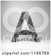 Clipart Of A 3d Capital Letter A Composed Of Scrambled Letters Over Gray Royalty Free CGI Illustration by stockillustrations