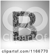 Clipart Of A 3d Capital Letter B Composed Of Scrambled Letters Over Gray Royalty Free CGI Illustration by stockillustrations