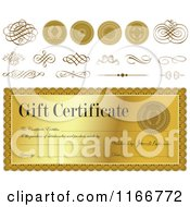 Clipart Of Golden Gift Certificate Design Elements Royalty Free Vector Illustration